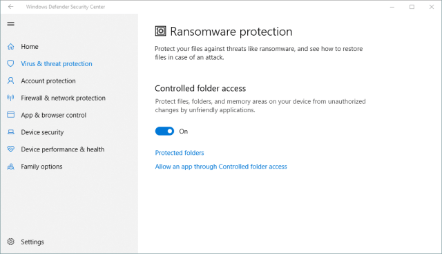 Windows Defender Security Center 2018 03 13 21 44 59 - Windows 10 New Feature: How To Enable Ransomware Protection
