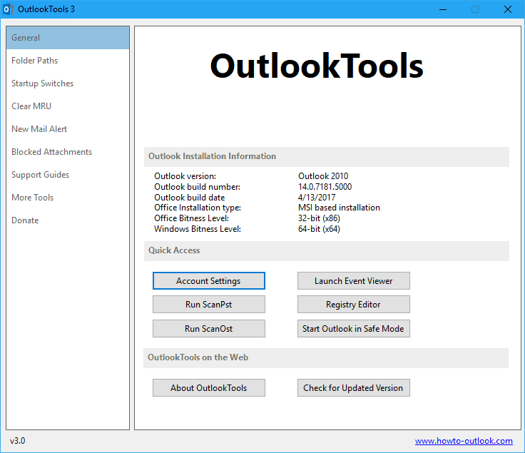 Outlook Tool main window - Outlook Tools 3.0 - Free Tool for Microsoft Outlook