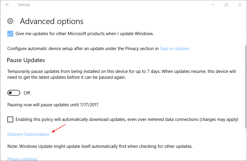 Settings Update Security advanced options optimize delivery - Windows 10 New Feature: Limit Bandwidth for Windows Update