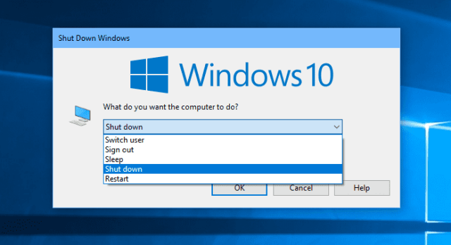 Windows 10 Shutdown dialog window - How Many Ways to Shut Down and Restart Your Windows 10 Computer
