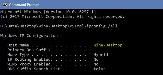 Command Prompt - ipconfig all