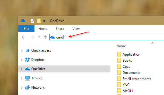 File Explorer cmd on the address bar - Windows Tip: Switching Between File Explorer and Command Prompt from the Current Folder