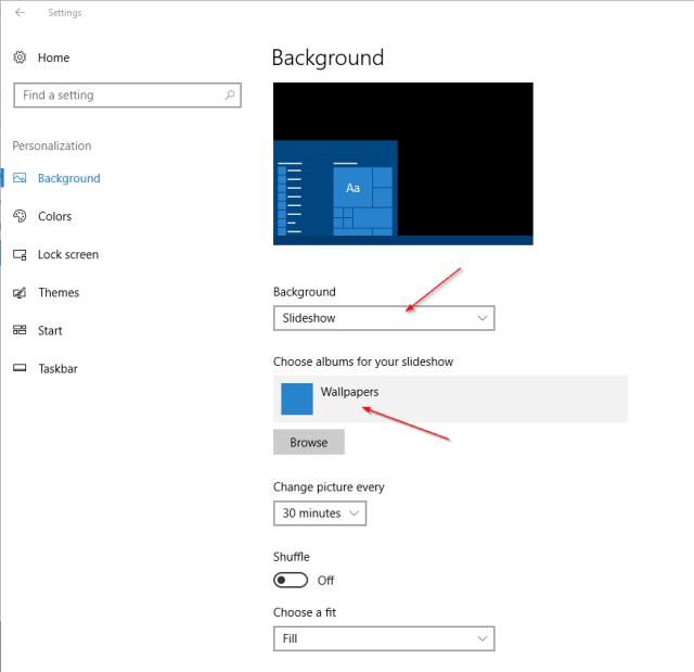 Settings - Personalization - Background slideshow