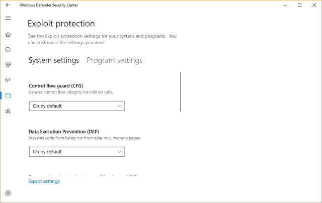 Windows Defender Security Guard - exploit protection