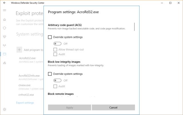 Windows Defender Security Center - program settings