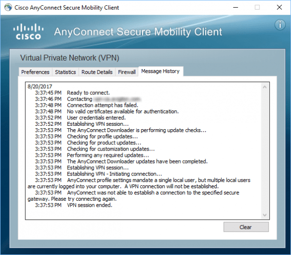 Cisco AnyConnect Secure Mobility Client 600x527 - Quick Fix: VPN Session Ended Cisco AnyConnect Secure Mobility Client