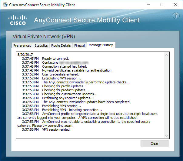 anyconnect profile settings mandate a single local user but On appropriately configured lu laptops, cisco anyconnect vpn client will launch anyconnect profile settings mandate a single local user, but multiple local.