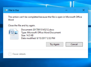 File in Use window