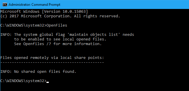 OpenFiles no local shares - How To Natively Find Out Which Process has Locked Your File in Windows