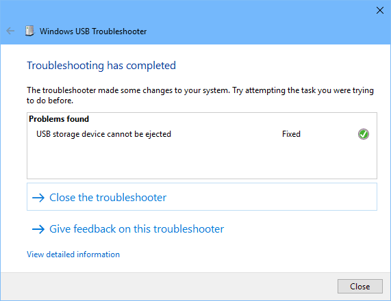Windows USB Troubleshooter - completed