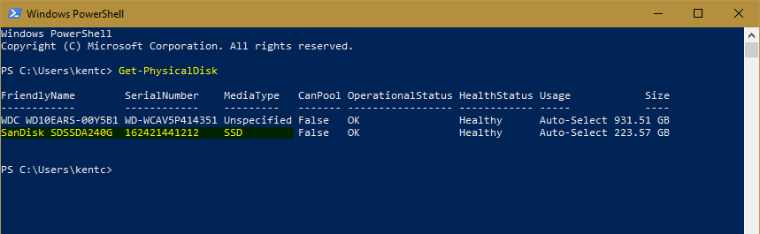 PowerShell Get PhysicalDisk - How To Tell If It is the SSD Drive that Runs my Windows 10