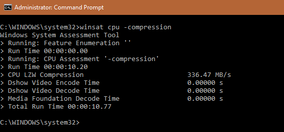 WinSAT cpu compression - What is WinSAT Command in Windows