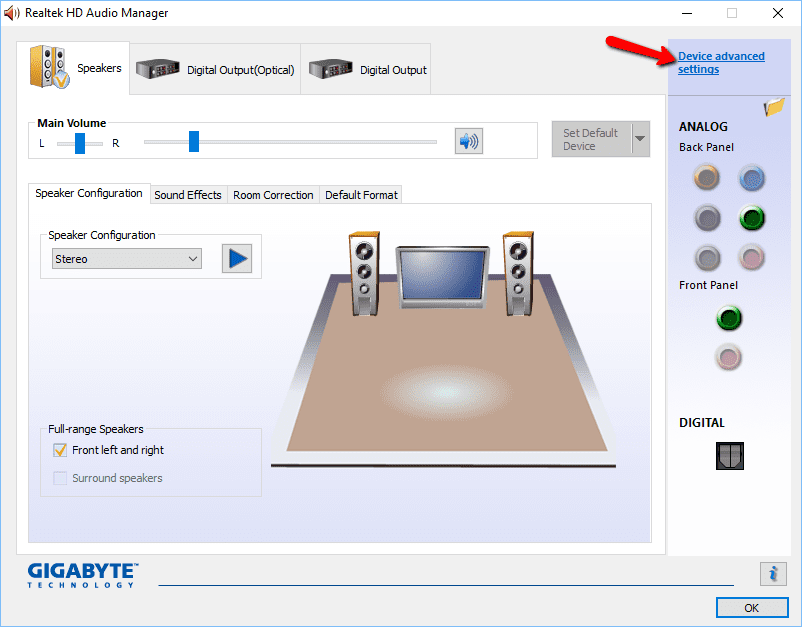 Realtek Switch Audio Output Between Back vs Front Panel On