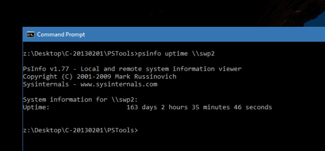 Command Prompt - PSInfo Uptime Remote