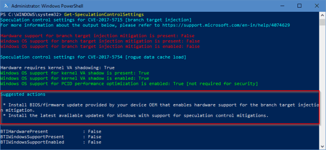 PowerShell Get SpeculationControlSettings unpatched - How To Patch and Verify Meltdown and Spectre Protection on Windows PCs