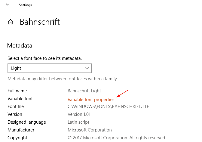 Settings Fonts Bahnschrift variable font - A Walkthrough the New Fonts Setting Page in Windows 10