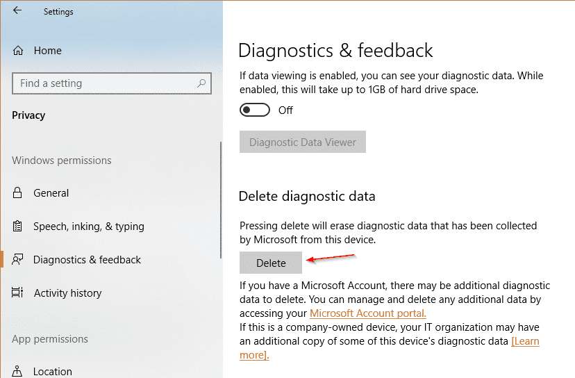 Settings Privacy Diagnostics Delete - How To Use Diagnostic Data Viewer in Windows 10