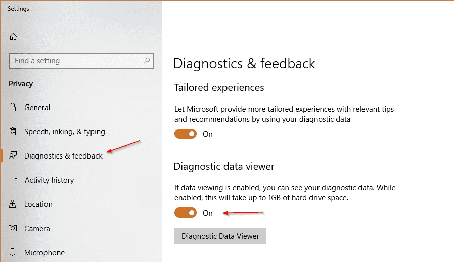 Settings Privacy Diagnostics turn on - How To Use Diagnostic Data Viewer in Windows 10
