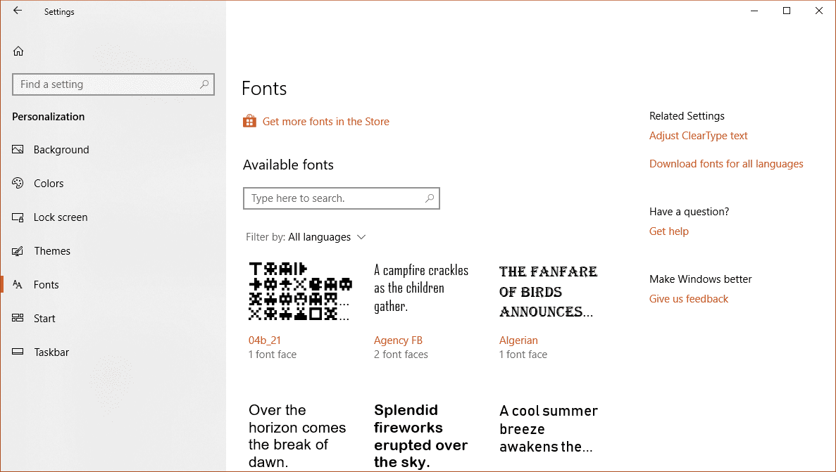 Settings fonts - A Walkthrough the New Fonts Setting Page in Windows 10