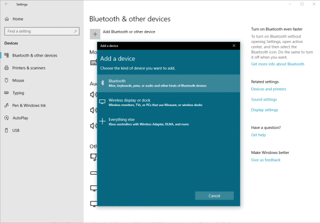 Windows 10 - add a bluetooth device
