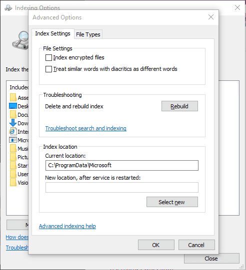 Rebuild Index from Indexing Options - How To Quickly Fix OneNote 2016 Search Stopped Working Issue