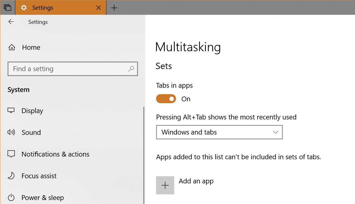 Sets setting in Windows 10 - How To Use New Tabs in File Explorer in Windows 10