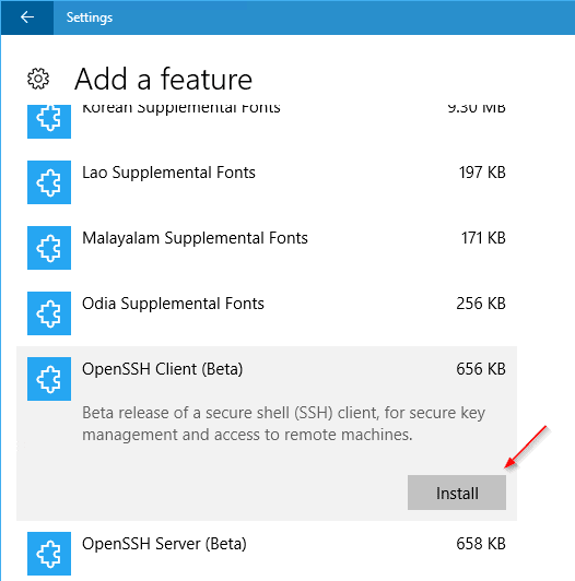 Settings Apps add OpenSSH client - How To Enable and Use Native OpenSSH Client on Windows 10
