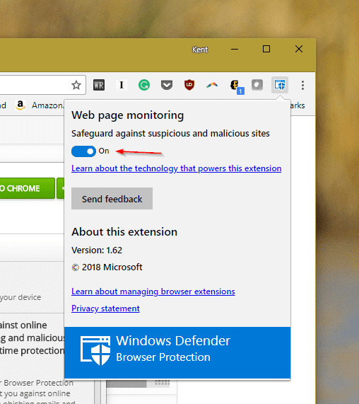 Windows Defender Browser Protection Extension Options - Windows Defender Browser Protection for Chrome