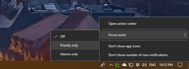 Action Center context menu Focus assist - Windows 10 Tip: What's Focus Assist and How To Use it