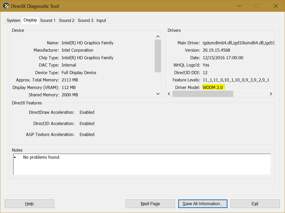 DxDiag display for WDDM - What is Projecting to this PC and How To Use it on Windows 10