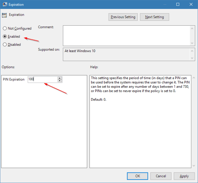 Expiration 2018 05 09 22 29 44 - How To Set Up PIN Complexity and Expiration in Windows 10