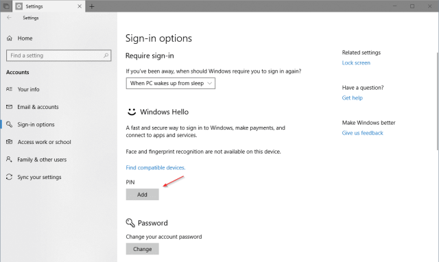 Settings Accounts Sign in Options PIN - How To Set Up PIN Complexity and Expiration in Windows 10