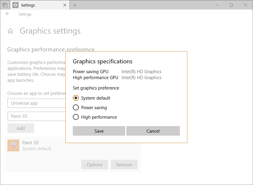 Settings System Display Graphic GPU preferences - Windows 10 Tip: How To Set GPU Preferences Per App