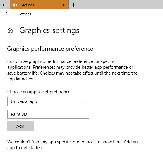 Settings System Display Graphic Universal app - Windows 10 Tip: How To Set GPU Preferences Per App