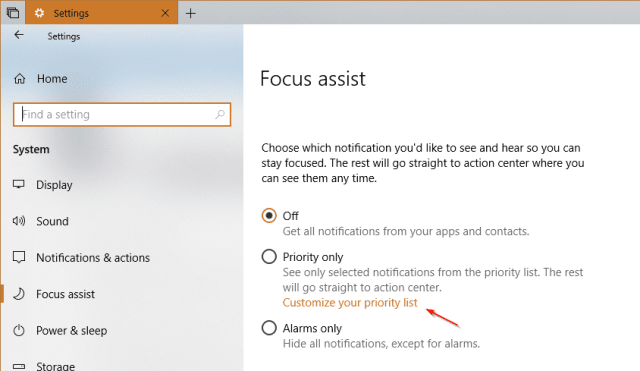 Settings System Focus Assist priorty only - Windows 10 Tip: What's Focus Assist and How To Use it