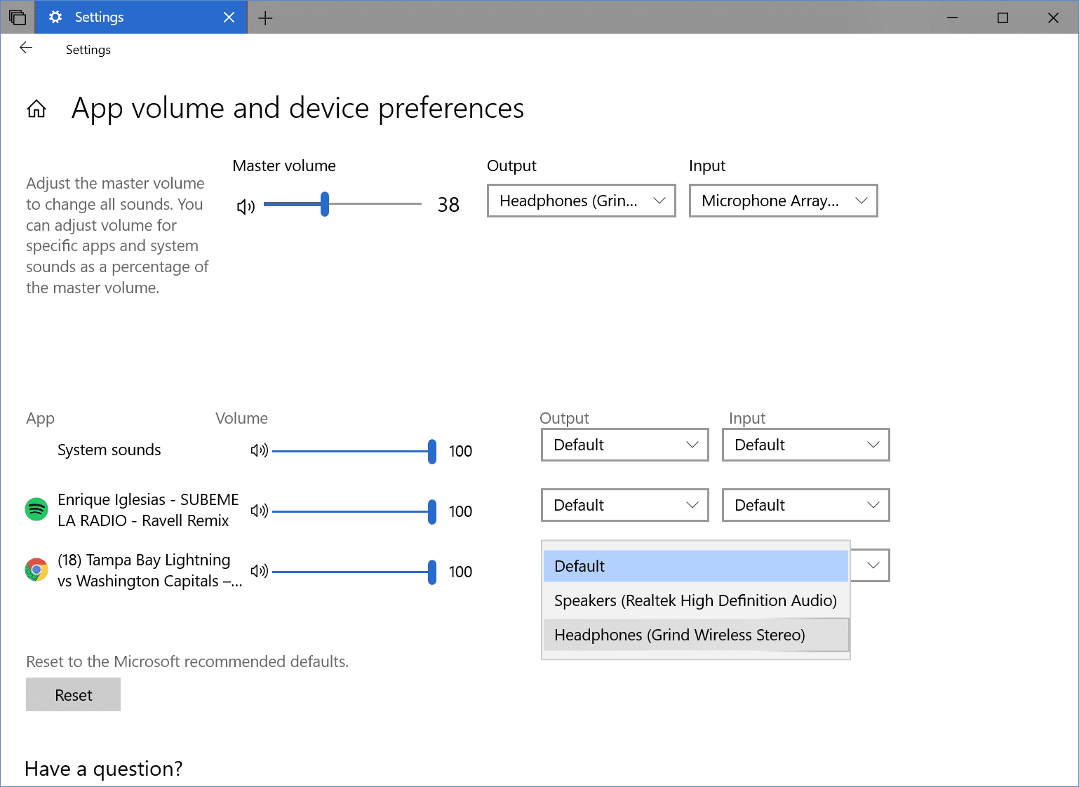Settings System Sound app volume - Windows 10 Tip: How To Set Up Audio Preferences Per App