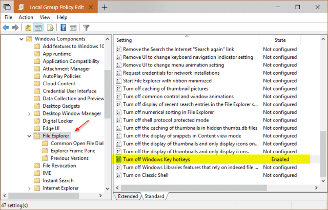 Group Policy to disable all windows key hotkeys