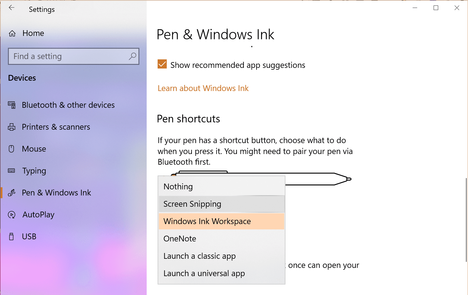 Settings Pen default settings - How To Use Screen Sketch to Do A Screenshot on Windows 10