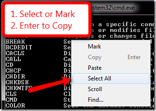 copy cmd - Copy Content From Command Prompt with Clip in Windows 7 [Tip]