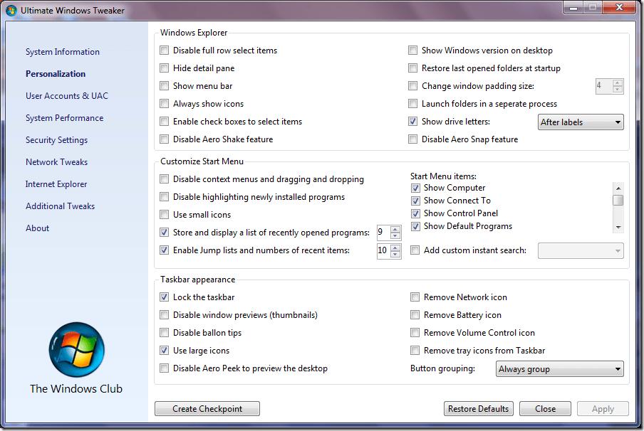 Download Ultimate Windows Tweaker on Windows 7 - Next of Windows