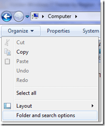 folder and search options
