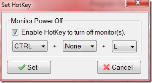 set hot key - Quickly Turn Off Monitor, Works on both Laptop and Desktop [Tips]