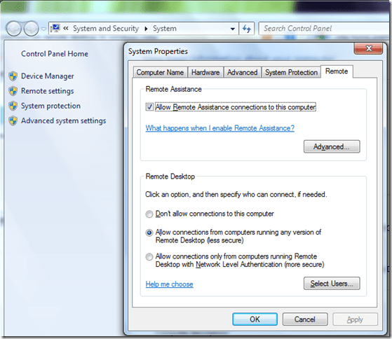 How to] enable Remote Desktop as Host in Windows 7 and Vista