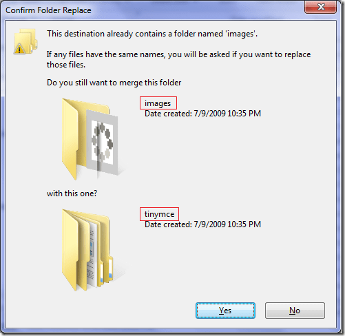 replace merge folder in Windows 7