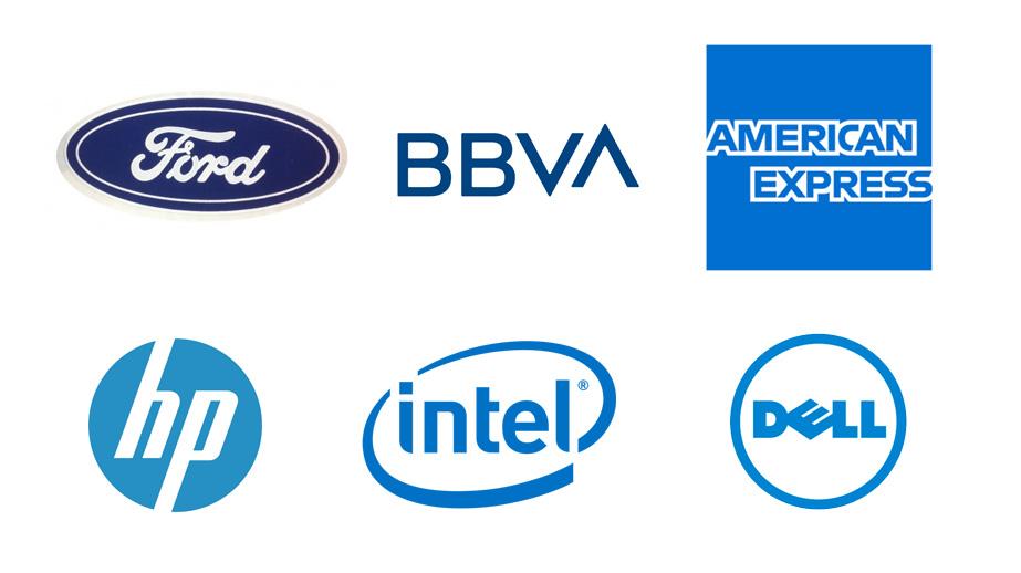 Logos de marcas en color azul