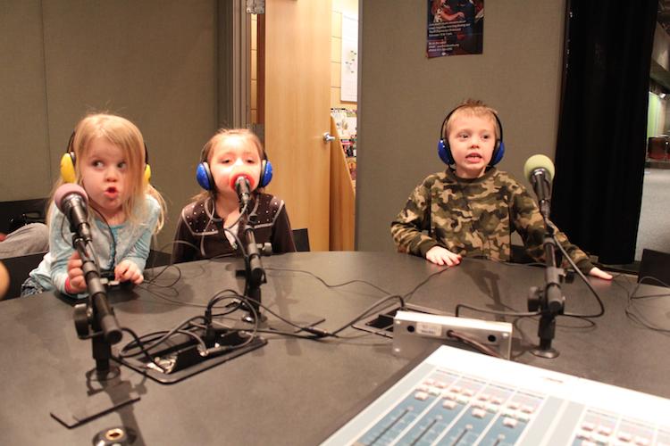 Children recording at Saturday Light Brigade