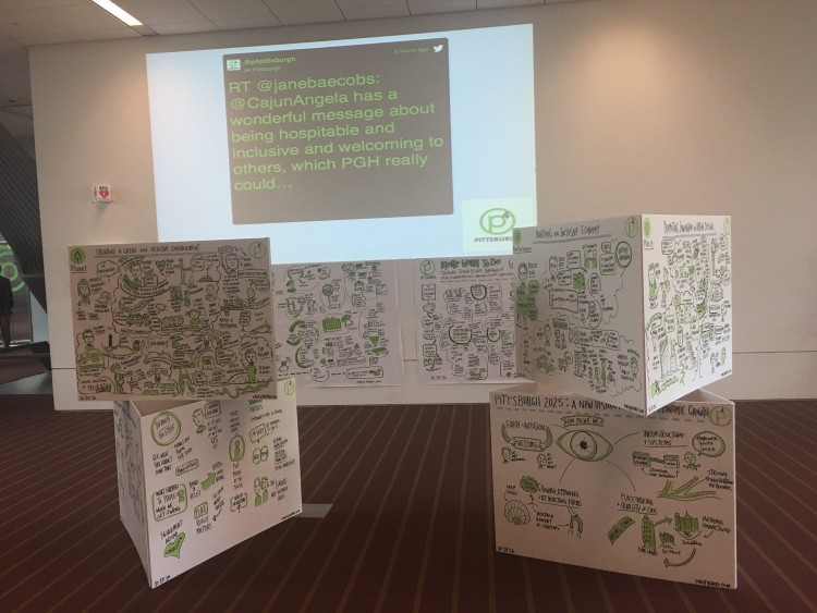 Ideas and tweets gathered throughout the p4 conference were on display.