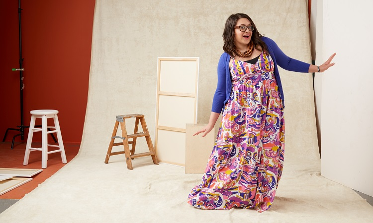 Nina Barbuto in a maxi dress and cardigan. Image courtesy of ModCloth.