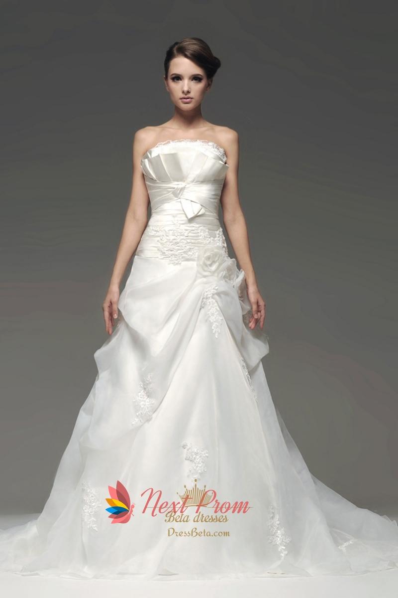 Crumb Catcher Bodice Wedding Dress Organza Drop Waist