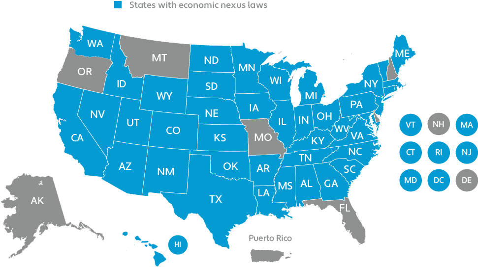 Economic nexus laws by state as of December 16, 2019